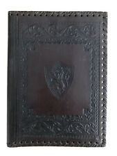 VINTAGE ITALIAN EMBOSSED TOOLED LEATHER BOOK COVER 9.5