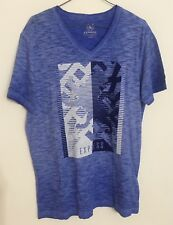 Express Men's Short-sleeve V-neck Cotton T-Shirt in BLUE - Size L FREE SHIPPING