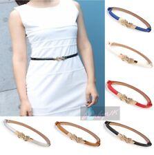 Summer Ladies Fashion Narrow Thin Skinny Low Waist Leather Belt Rose Buckle