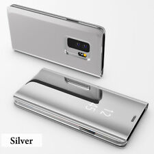 Silver Flip Smart Clear View Mirror Stand Cover Case For Samsung Galaxy S9 Plus