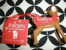 Nwt! 2016 Dept 56 Rudolph Kaitlyn Personalized Christmas Ornament ~