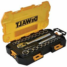"DEWALT 23PC 1/2"" TOUGH SAE AF METRIC DRIVE RATCHET SOCKET SET & CASE DWMT73813"