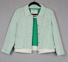 "Women's L green and white ""Lattice Meadow Jacket"" by Cartonnier (Anthropologie)"