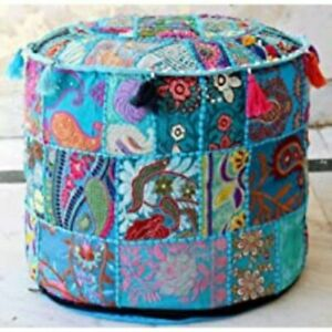 """Embroidered 22"""" Patchwork Round Pouf Ottoman Moroccan Pouffe Cotton Pouf Cover"""