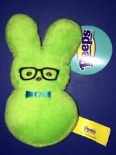 New tag Peeps Just Born Green Plush Easter Bunny w Glasses squeaker Pet Dog Toy