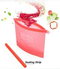 Reusable Silicone Food Cooking Bags Freezable Sandwich Storage Ziplock Seal4pcs