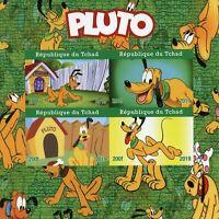 Chad Disney Stamps 2019 MNH Pluto Dogs Cartoons Animation 4v IMPF M/S