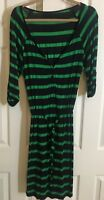 Merona Navy and Green Striped 3/4 Sleeve Drawstring Waist Dress, Size L