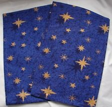 """2  Festive Christmas Table Runner Blue with Yellow Stars 35""""/89cm 100% Cotton"""