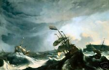Old Masters Print Ships in Distress in a Heavy Storm