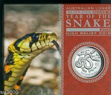 2013 $1 AUSTRALIA LUNAR SNAKE 1 Oz. HIGH RELIEF SILVER COIN Box & COA ONLY: 7500