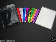 "50 x 4.5"" BLACK CAKE POP LOLLY KIT LOLLIPOP STICKS CELLO BAGS METALLIC TIES"
