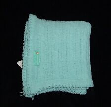 New listing Tiddliwinks Aqua Teal Blue Green Baby Blanket Chenille Cable Knit Rope Lovey