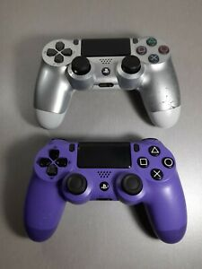 Sony Playstation 4 Silver & Purple Controller Lot Of 2 For Parts Or Repair