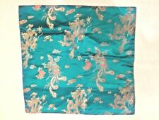Turquoise PEACOCK Pillow Cover with Zipper. 16 X 16 . NEW