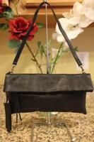 NWT Gianni Chiarini Black Scale Leather Flap Clutch Shoulder Bag (pu200