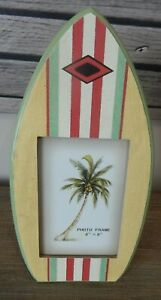 "SURFBOARD PICTURE PHOTO FRAME FREESTANDING BEACH SEA THEME 4"" X 6"" PHOTO SIZE"