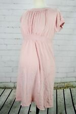 A Pea In The Pod VELVET Maternity Tunic Dress Short Sleeve Ruched Size M Pink
