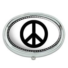 Peace Sign Metal Oval Pill Case Box