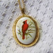 Porcelain Male Cardinal Cameo Locket, Large Red Bird Necklace Bird Watcher Gift