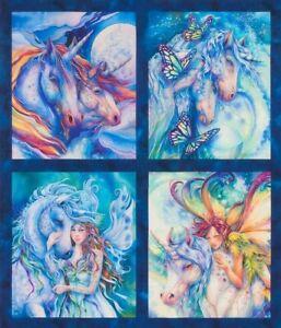 "Fabric Unicorns Fantasy Wild Morningmoon Cotton 21""x24"" 4 Square Panel KAUFMAN"