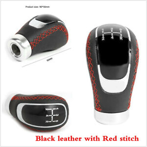Black PU Leather Car Truck Manual 5 Speed Gear Shift Knob Shifter Lever Cover
