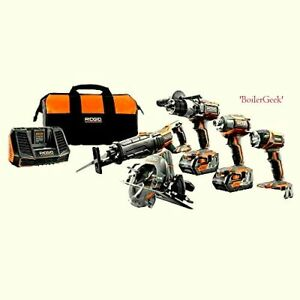 RIDGID R9652 18V 5 Piece Tool Kit Brand New SEALED BOX - #502 - $339