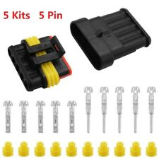 5 Kits 5Pin Way Car Auto Sealed Waterproof Electrical Wire Connector Plug