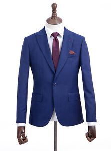 Mens Gibson Suit Cobalt Blue Tailored Fit 48R W42 L31