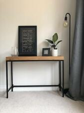Industrial Black Metal and Oak Console Table