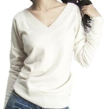 Winter Office Blouse Womens Smooth Soft Fitted Cashmere Sweater UK Sz 6-18 White 12