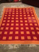 Vintage Folk Art Quilt 80x67 Sqaures Colorful Vintage Quilt WoW Look Red Orange