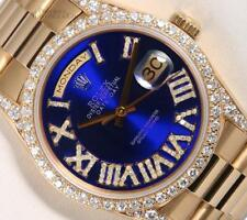 Rolex Men President 36mm Day-Date 18k-Blue Roman Dial-Diamond Lugs-Diamond Bezel