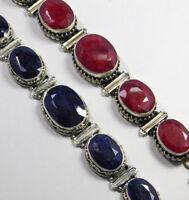Handmade Blue Sapphire Ruby Bracelet 925 Sterling Silver Oxidized Jewelry MB1322