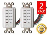 (2) Teklectric Bathroom Fan Auto Shut Off Switch Timer, 60-30-20-10 Minute