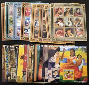 EDW1949SELL: Mosambik 2001 Sc #1480-1513 Malerei Cplt Set Mit 9 Blatt & 25 S/S