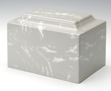 Classic Cultured Marble Gray 25 Cubic Inches Funeral Cremation Urn For Ashes
