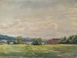 Vintage Country Landscape Painting 1930s Watercolour,  14 x 9.5in