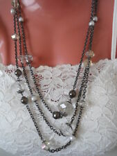 Designer LANE BRYANT White, Grey, Pearl Stone Beads Long Necklace Chunky $22.5