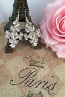 Vintage Jewellery Earrings White Crystal Rhinestones Antique Dress Jewelry