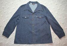 New listing Vtg Levis Men Polyester Jacket Large Denim Look Leisure Metal Button Gold Stitch