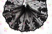 "6""~1 Yard ~ Cotton Venise Embroidered Floral Lace Trim Tulle Doll Dress Black"
