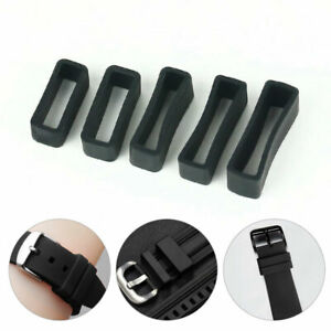 2PCS Silicone Rubber Watch Strap Band Keeper Holder Hoop Loop Ring Retainer