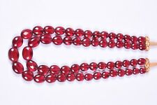 Rubylite Pink Quartz 2 String Oval Shape Beads Necklace 14 To 16 Inch Long