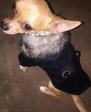 Chihuahua Size (XS) Christmas Black Smart Style UniSex Dress Coat Dog Clothes