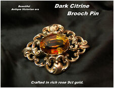 Victorian Citrine Brooch Pin 9ct Rose Gold Rococo style Very Large Stone c1880s