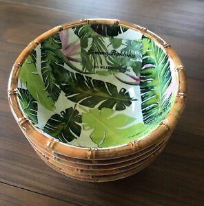 "Tommy Bahama 6 Piece Green Palm Bamboo Edge Melamine 6"" Dessert Bowl Set New!"