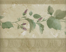 Rosebuds On Tan Architectural Trim Wallpaper Border