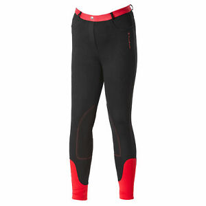 Firefoot Farsley Kids Pants Riding Breeches - Black Red All Sizes