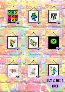 BUY 2 GET 1 FREE Minecraft Watercolour Print Poster Wall Art A4